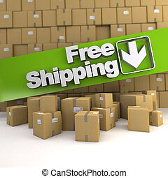 Free shipping, box wall - Free shipping banner on a...
