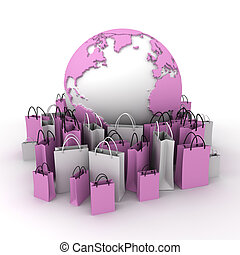 International shopping, pink and white - A world map...