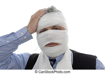 injured man with bandage