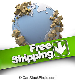 worldwide free shipping - 3D rendering of a free shipping...