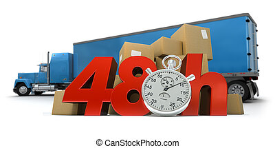 48 Hrs removal - 3D rendering of a pile of packages and a...