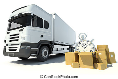 Speediest transportation service - 3D rendering of a white...