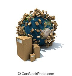 Worldwide carton delivery - Cardboard boxes and falling...