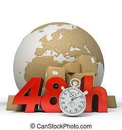 World delivery in 48 Hrs - 3D rendering of the Earth a pile...