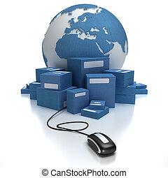 global, transporte, em, azul,