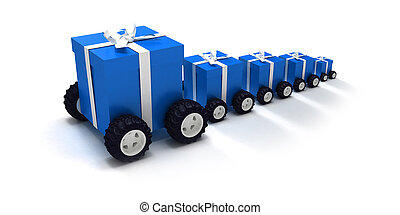 Blue gift convoy - 3D rendering of a line of blue gift boxes...