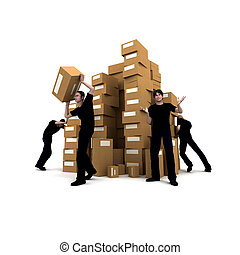 Moving men - 3D rendering of piles of cardboard boxes and...