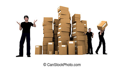 Delivery men - 3D rendering of piles of cardboard boxes and...