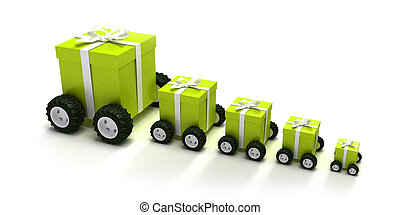 Green gift boxes convoy - 3D rendering of a line of green...