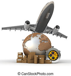 Air transportation - 3D rendering of a world map, packages,...