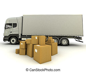 Loading truck - 3D rendering of a truck and a group of...
