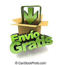 Envio gratis banner - 3D rendering of a free shipping...