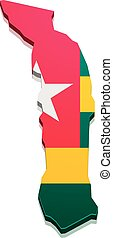 Map Togo - detailed illustration of a map of Togo with flag,...