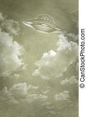 UFO - stylization of an old photo