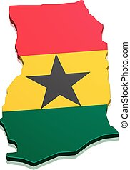 Map Ghana - detailed illustration of a map of Ghana with...