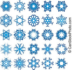 Set of 25 a six-rays crystal gradient snowflakes.