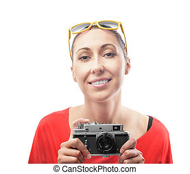 Girl with the camera. - Girl with the retro camera....