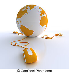 The World connected in orange - Orange and white Earth Globe...