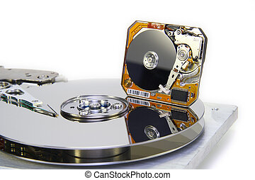 Hard disks with diameter of plates 35 and 1 inch - The image...