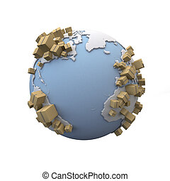 Transportation Earth - 3D rendering of the Earth with lots...