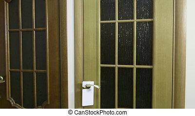 Door store showroom - internal glazed doors, pan shot