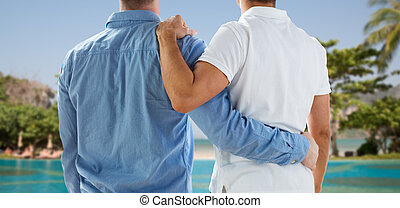 close up of happy male gay couple hugging - people, same-sex...