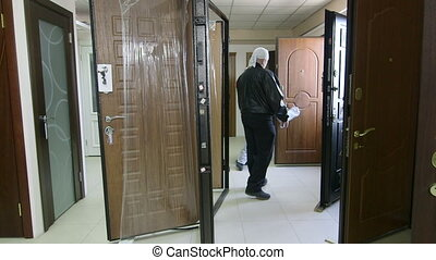 Customers looking for new door in the doors store showroom