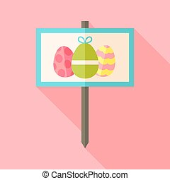 Gardening sign with Easter eggs