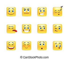 Smileys with emotions - Twelve stylish and emotional square...
