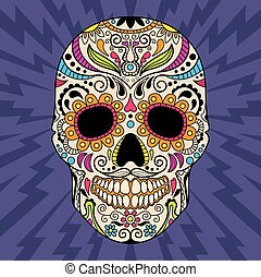 Mexican skull, the original pattern vector illustration