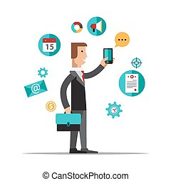 Businessman using mobile phone for business process...