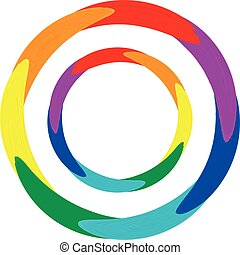 round oil paint design in rainbow colors