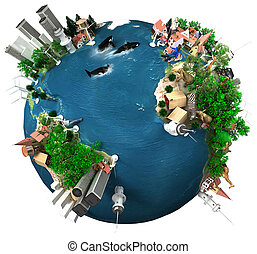 Earth Global Village - 3D rendering of ecology oriented...