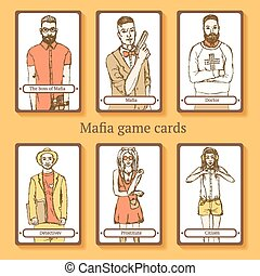 Sketch Mafia cards in vintage style, vector
