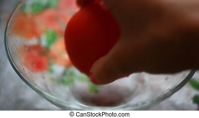 female hands puts in a bowl of fresh vegetables HD 1920x1080...