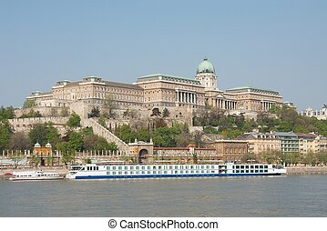 Buda castle - Castle of Buda in Budapest with the river...