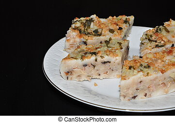 yam cake - vegetarian yam cake with peanuts and mushrooms