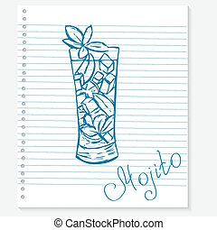 sketch of a mojito cocktail on notebook sheet - Vector...