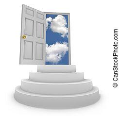 otwarty, drzwi, nowy, sposobności