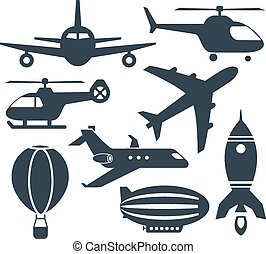 Set of aircrafts icons