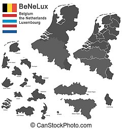 BeNeLux countries - silhouettes of the netherlands,...