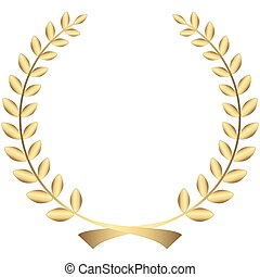 gold laurel wreath - golden laurel wreath isolated on white...