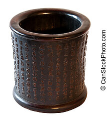 Chinese traditional decorative pot in wood with carved...