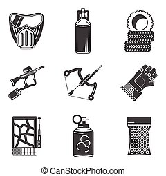 Black icons vector collection for paintball - Set of black...