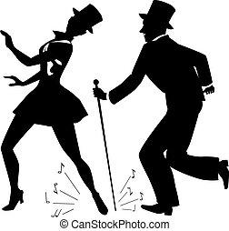 torneira, Dançarinos, em, topo, chapéus,...