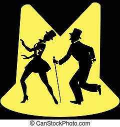 Tap dancing performers on stage - Black silhouette of a tap...