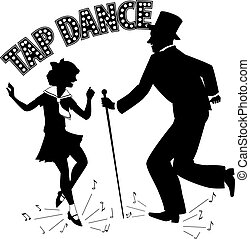 Tap Dance Teacher - Black vector silhouette of a man in a...
