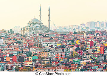 Istanbuls dense residential area with the Suleymaniye Mosque
