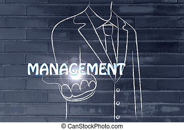 business man handing out the word Management