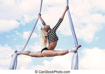 joven, mujer, gimnasta,
